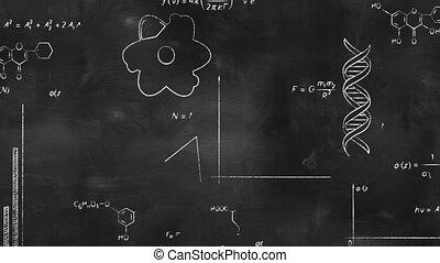 writing scientific formulas on black chalkboard