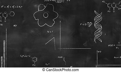writing scientific formulas on black chalkboard