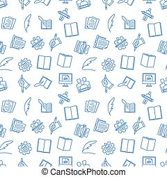 Writing seamless pattern. Vector illustration