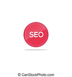 Writing seo in a red circle. There is a circular glass in front of the seo article.