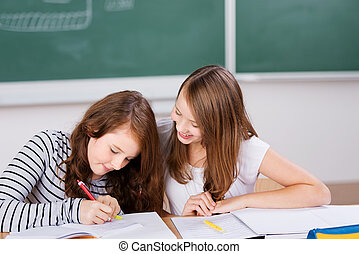 Writing students - Two beautiful students writing notes...