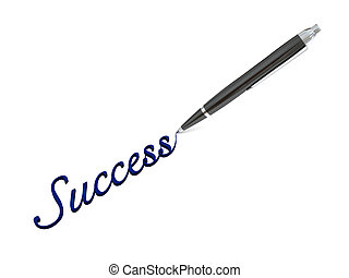 Writing success - Illustration of elegant pen writing...