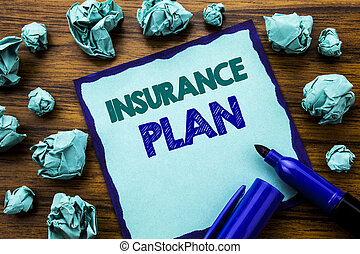 Writing text showing Insurance Plan. Business concept for Health Life Insured Written on sticky note paper, wooden background with marker folded yellow paper meaning thinking