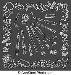 Writing tools and doodles - Hand-drawn writing tools. ...
