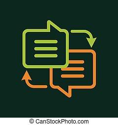 Writing translation icon, outline style