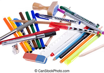 writing utensils, pens and an eraser isolated on white background