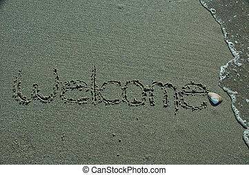 writing-welcome, areia