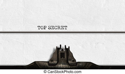 Animation of a close up of the type guard and moving type bars of a typewriter, typing out the words Top Secret in capital letters on plain white paper