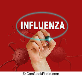 writing word INFLUENZA with marker on red background made in 2d software