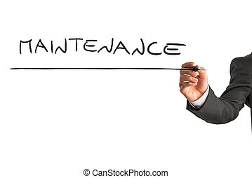 Writing word Maintenance on virtual screen - Closeup of male...