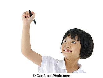 Pan Asian schoolgirl writing on blank space