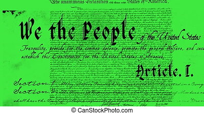 Digital animation of a written constitution of the United States moving in the screen against a green background. 4k