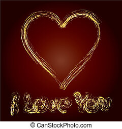 written declaration of love on brown background, vector