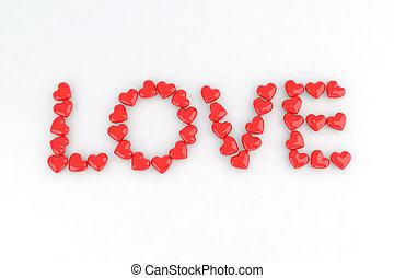 Written love with little hearts