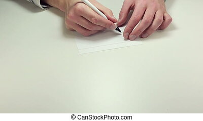 Written note Right Off - Man hands write the words Right Off...