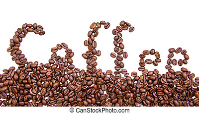 Written with coffee beans on white background