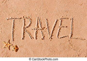 travel text written on sand word travel written on sand beach