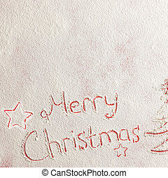 Written words Merry christmas on a snow field, new year concept.