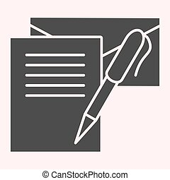 Writting letter glyph icon. Notes, envelope and pen. Postal service vector design concept, solid style pictogram on white background, use for web and app. Eps 10.