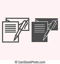 Writting letter line and glyph icon. Notes, envelope and pen. Postal service vector design concept, outline style pictogram on white background, use for web and app. Eps 10.