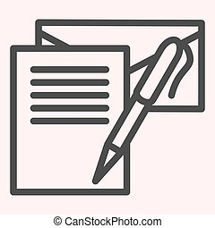 Writting letter line icon. Notes, envelope and pen. Postal service vector design concept, outline style pictogram on white background, use for web and app. Eps 10.