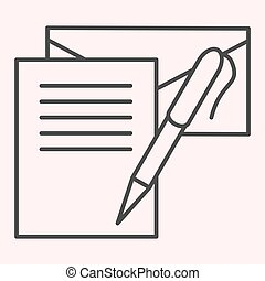 Writting letter thin line icon. Notes, envelope and pen. Postal service vector design concept, outline style pictogram on white background, use for web and app. Eps 10.