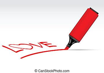 writting, pen, liefde, highlighter