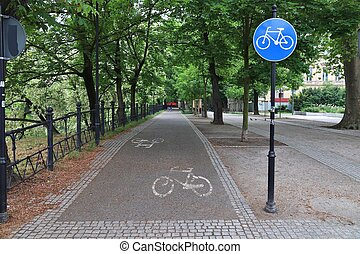 Bicycle path in Wroclaw, Poland. Cycling transportation infrastructure.