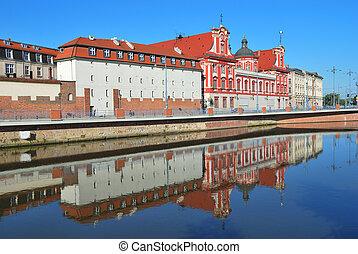 wroclaw., oder, ποτάμι , ανάχωμα