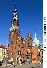 Town hall in the market square in Wroclaw