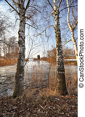 WROCLAW, POLAND - FEBRUARY 22, 2021: The Milicz Ponds (Polish: Stawy Milickie). Nature Reserve in Barycz Valley Landscape Park. Lower Silesian Voivodeship, Poland, Europe.
