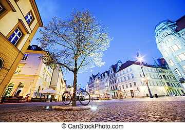 Wroclaw, Poland in Silesia region. The market square at night