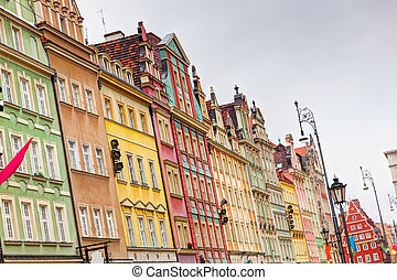Wroclaw, Poland. The market square with colorful historical buildings. Silesia region.