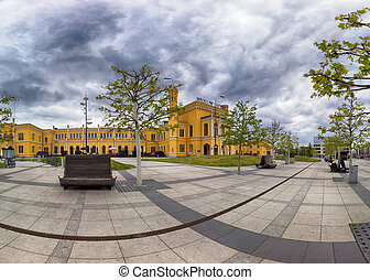 WROCLAW, POLAND - MAY 03, 2019: Main Railway Station in Wroclaw (Wroclaw Glowny). Built in the mid-19th century near the centre of the city. Total renovation before EURO 2012.