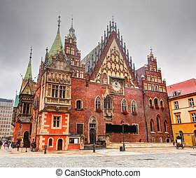 Wroclaw, Poland. The historical Town Hall on market square. Silesia region.