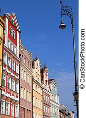 Rynek square in Wroclaw city, Poland. Old Town architecture.
