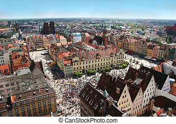 Wroclaw town market and town hall. View from St. Elisabeth Church spire.