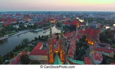 Wroclaw View at Tumski island and Cathedral of St John the...