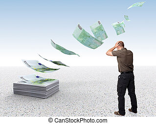 wrong business - money fly away and sad man