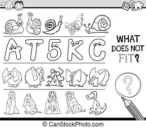 wrong element game for children - Black and White Cartoon...