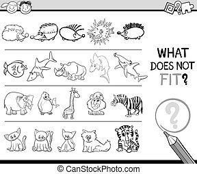 wrong element game for kids - Black and White Cartoon...