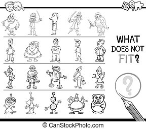wrong image game for coloring - Black and White Cartoon...