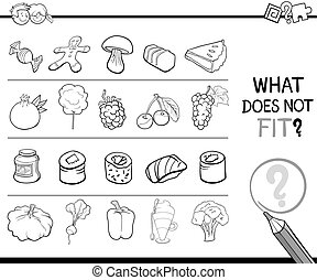 wrong image task for coloring - Black and White Cartoon...