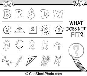 wrong item activity for coloring - Black and White Cartoon...