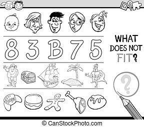 Black and White Cartoon Illustration of Finding Wrong Item in the Row Educational Game for Children