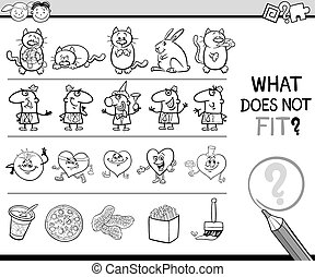 wrong item game for coloring - Black and White Cartoon...