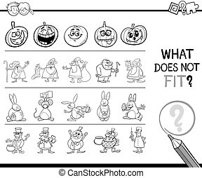 wrong picture coloring book - Black and White Cartoon...
