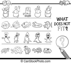 wrong picture game for coloring - Black and White Cartoon...