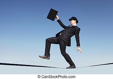 Wrong step - Photo of careful businessman standing on ribbon...