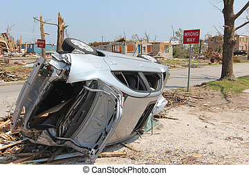 Wrong Way Car - EF5 Tornado - Car flipped on it's side by an...